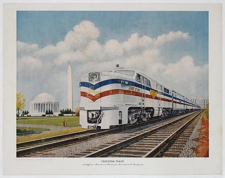 Original 1940s Freedom Train Poster Print HOWARD FOGG