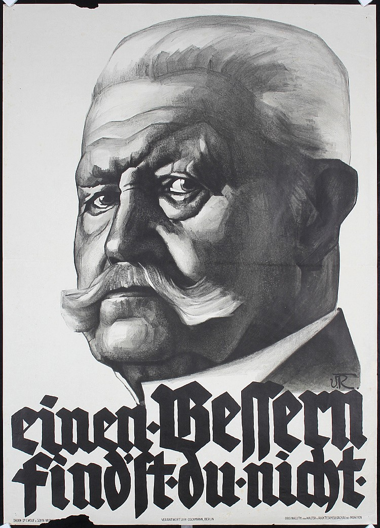 Original 1920s German Hindenburg Propaganda Poster
