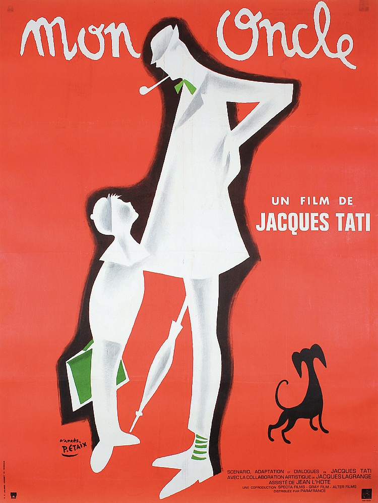 Old 1970s French Movie Poster MON ONLCE Jacques Tati