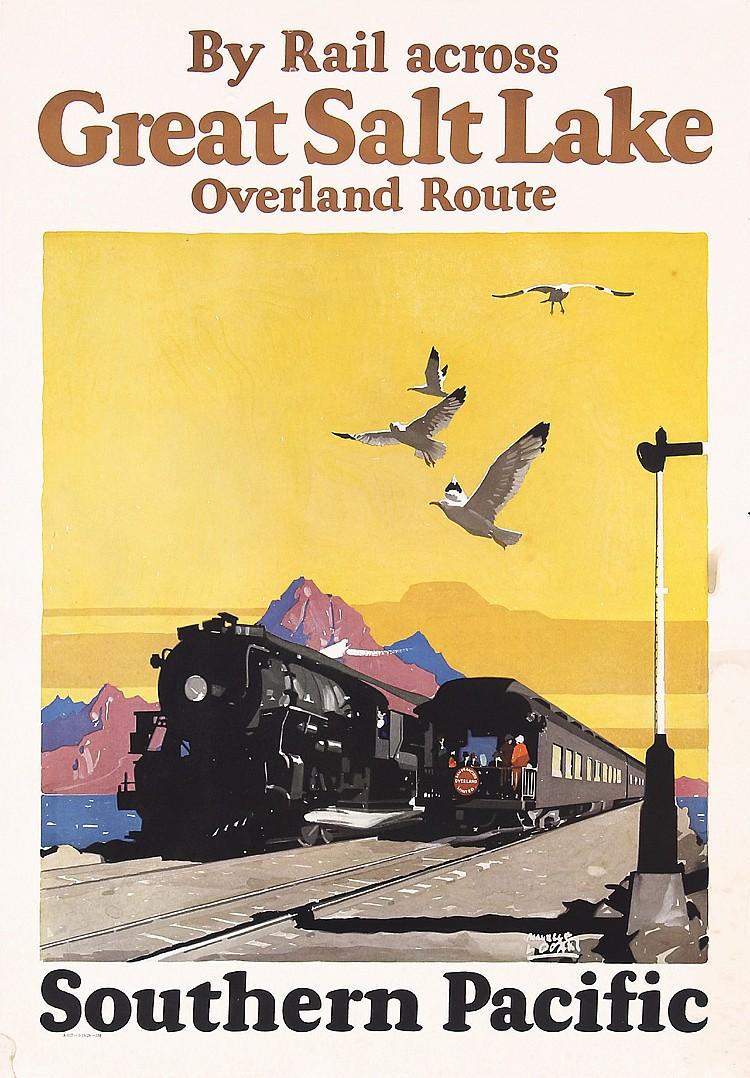 ORIG 1920s SP Rail Travel Poster LOGAN Great Salt Lake