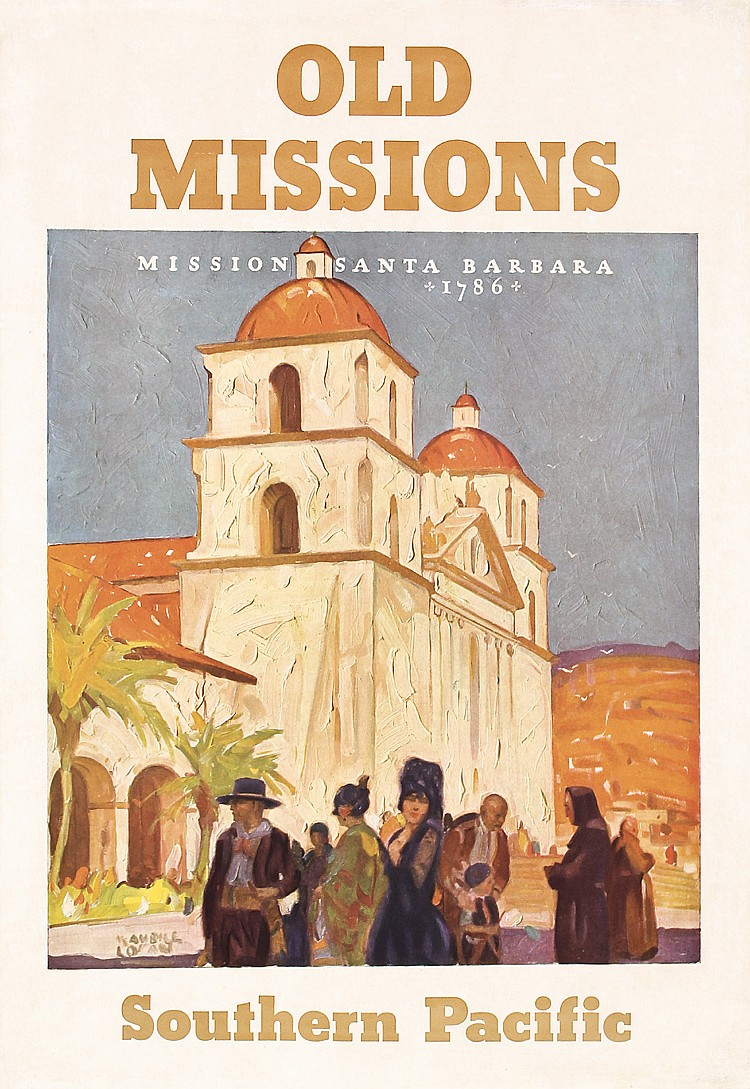 1930s Southern Pacific CA Missions Travel Poster LOGAN