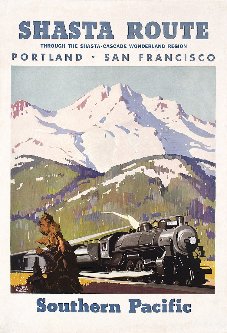 ORIG 1930s Southern Pacific Rail Travel Poster LOGAN
