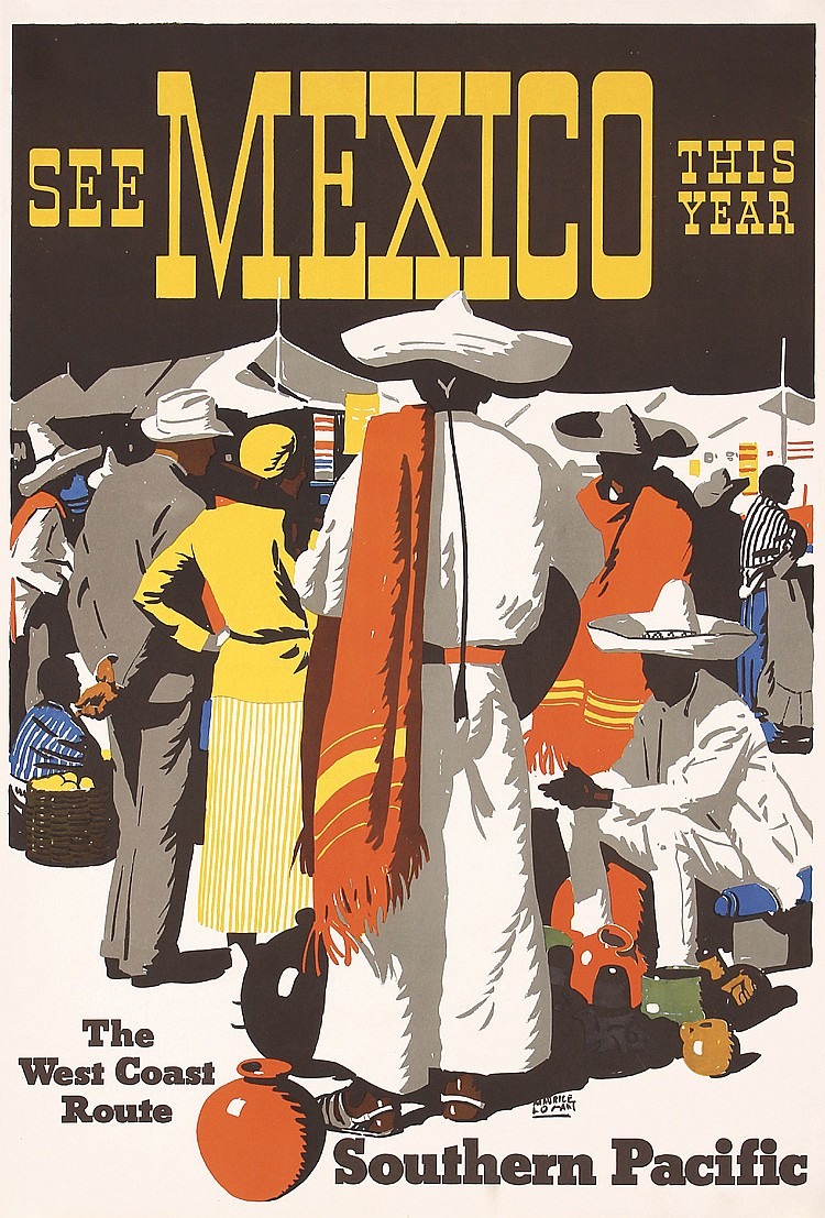 RARE 1930s MAURICE LOGAN So. Pacific Rail Poster Mexico