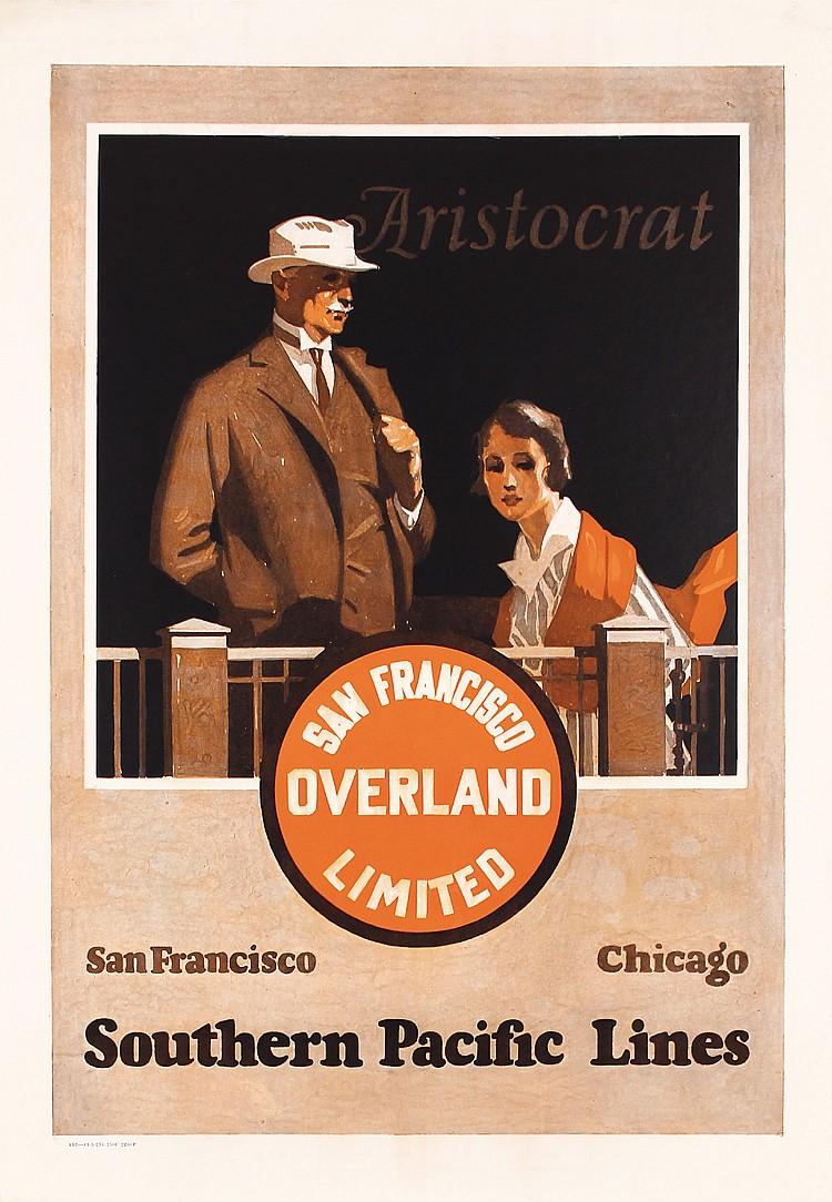 RARE 1920s SP Aristocrat Overland Rail Travel Poster MAURICE LOGAN