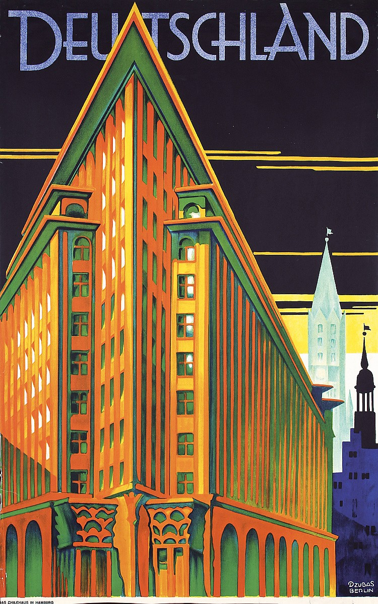 Stunning Original 1930s Art Deco Travel Poster Germany
