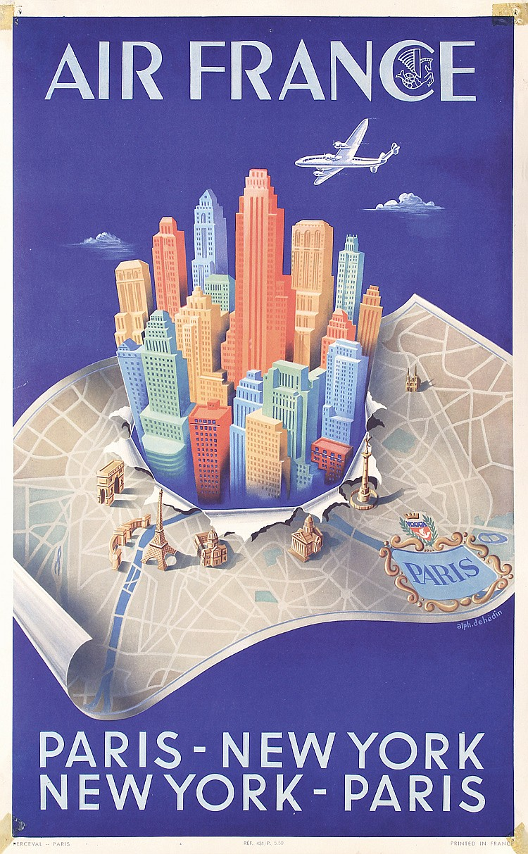 original 1950 air france new york paris travel poster. Black Bedroom Furniture Sets. Home Design Ideas