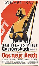 Old Original 1930s German Theater Poster The New Reich