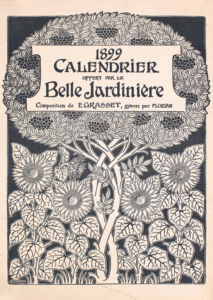 Original 1890s Decorative Art Calendar Cover Print