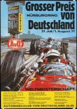 Old Original 1970s German Grand Prix Auto Racing Poster