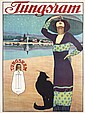 RARE Original 1913 TUNGSRAM Lightbulb Art Deco Poster