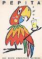 Original 1950s HERBERT LEUPIN Pepita Swiss Design Poste