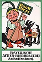 Funny Original 1910s German Bock Beer Poster Plakat