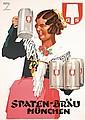 Original 1950s Spatenbrau Beer Poster Munich L HOHLWEIN