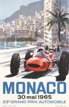 Old Original 1965 Auto Grand Prix Monaco Poster Turner