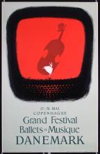 Original Vintage 1956 Danish Ballet Music Travel Poster