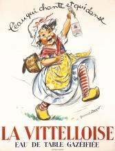 Original Vintage 1920s French Water Poster Girl Vitello