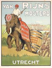 Original Vintage 1910s Dutch Mustard Poster ELEPHANT