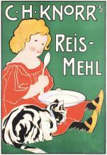 Original Vintage 1900s Knorr Poster CAT + GIRL