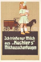 Old Original 1910s Carl Moos MILKL Poster Little Girl