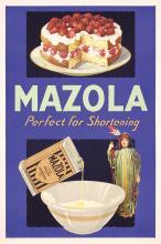 ORIG 1930s American Advertising Poster MAZOLA Cake