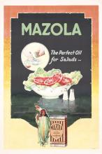 ORIG 1930s American Advertising Poster MAZOLA Salad Oil