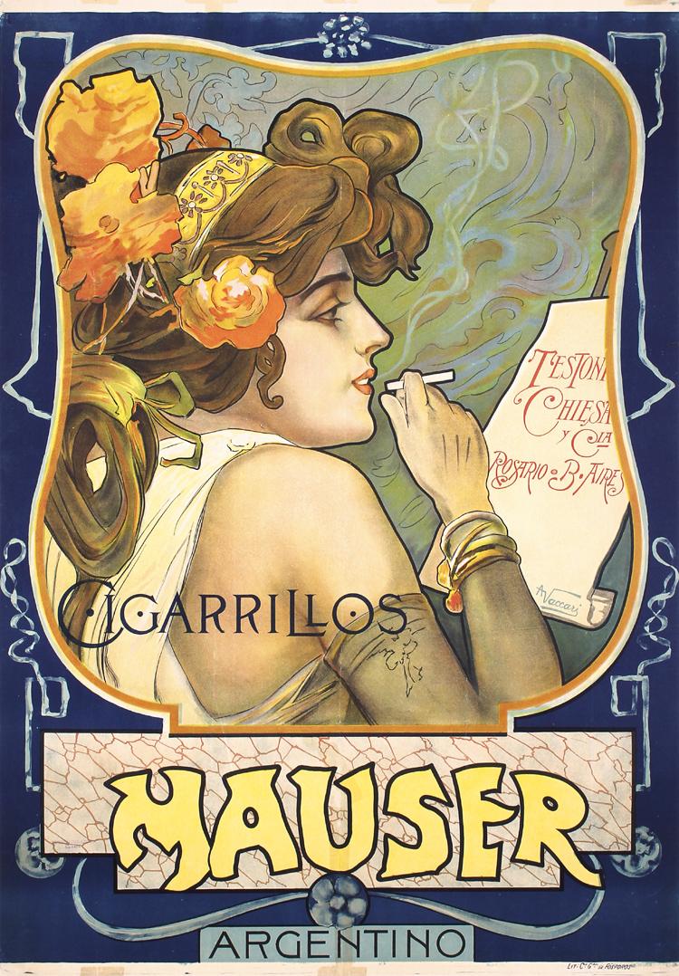 Stunning Original 1900s Art Nouveau Poster MAUSER