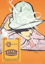 Original 1950s/60s Reval Cigarette Poster Cool Design