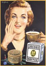 2 Original Vintage 1950s German Jacobs Coffee Posters