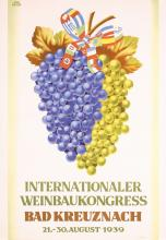 Nice Original Vintage 1930s German Wine Poster Grapes