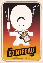 Old Original 1950 Swiss Cointreau Liquor Poster Plakat