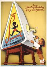Funny Original 1940s Swiss Cheese Poster FONTANET