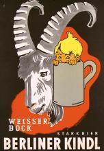 Original 1950s German Berlin Kindl BEER Poster Plakat