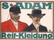 Original 1910s German S.Adam Equestrian Clothes Poster