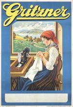Old Original 1920s German Italian Sewing Machine Poster