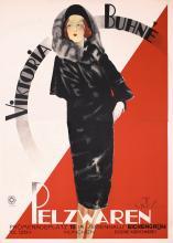 Large Original 1930s German Fur Poster Plakat Vik Buhne