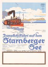 Original 1930s German Travel Poster STARNBERGER SEE