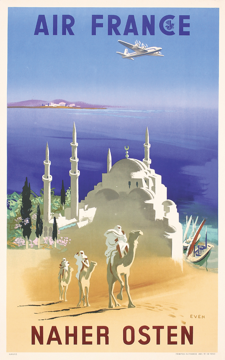 original 1950s air france travel poster near east