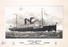 RARE Original 1907 Trans-Pacific Line Ship Poster KOREA