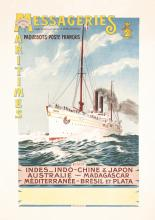 Original Vintage 1910s/20s French Ship Travel Poster