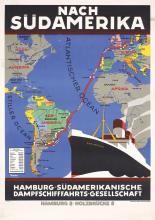 Original 1920s HAPAG Ship Travel Poster ANTON