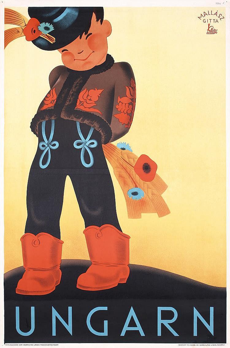 Original 1930s Hungary Travel Poster Plakat Little Boy