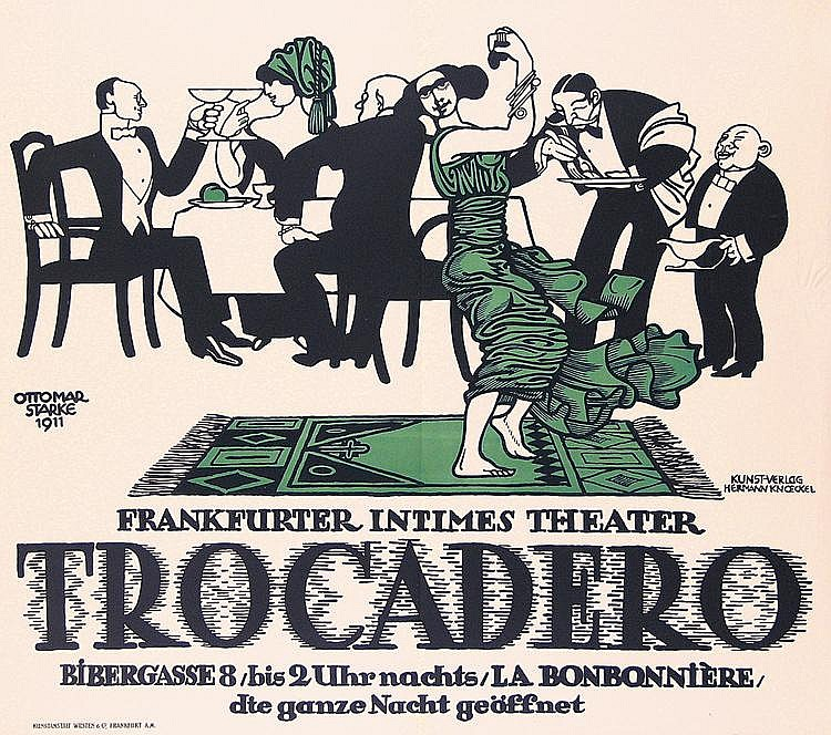 Beautiful Original 1911 German Trocadero Theater Poster