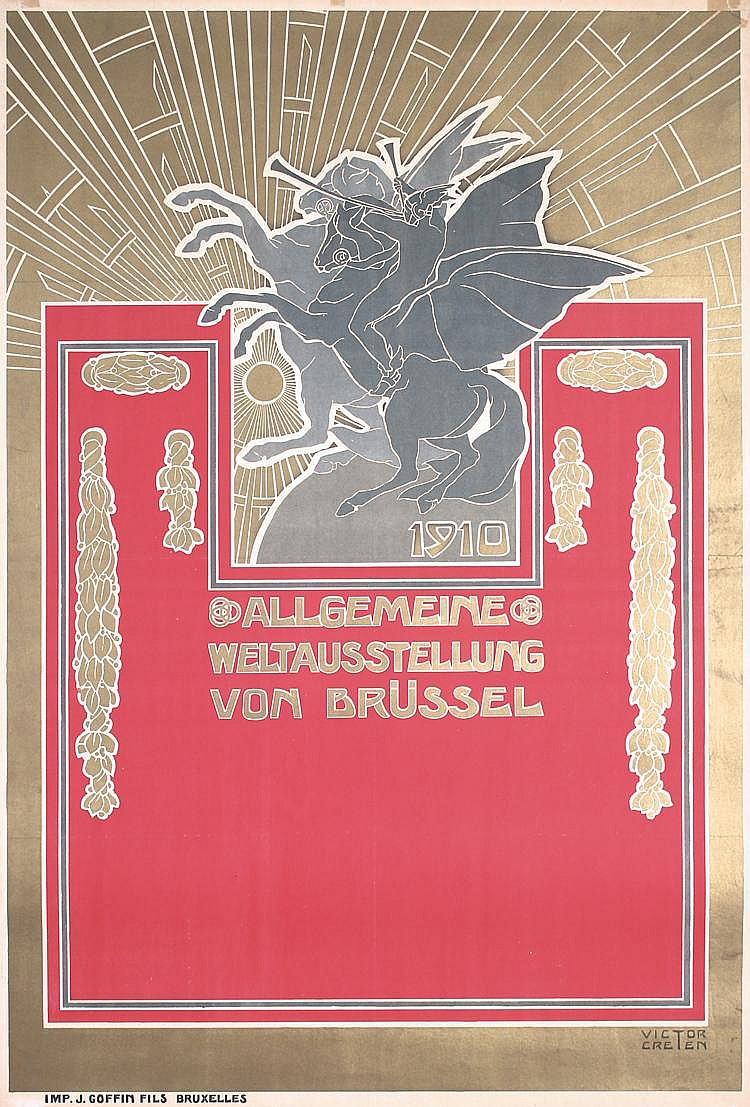 Original 1910 Art Nouveau Brussels World´s Fair Poster