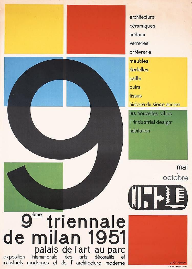 Original 1950s Italian Design Triennale Poster Plakat