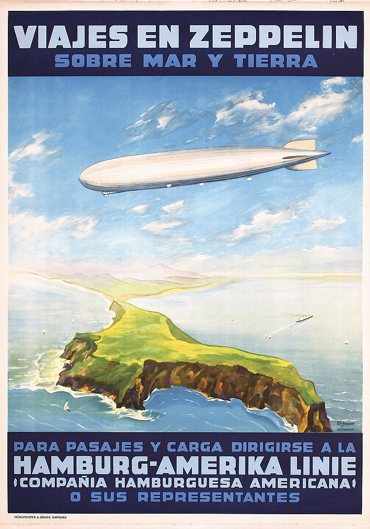 RARE Old Original 1930s Zeppelin Cruises Travel Poster