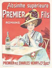 RARE Original Vintage 1890s French ABSINTHE Poster