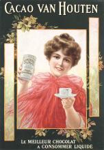 Original Vintage 1900s Van Houten Cacao Chocolat Poster