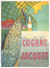 Original Vintage 1890s French Poster Cognac Jacquet Peacock