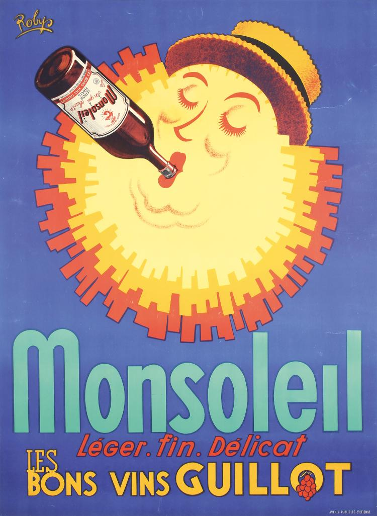 Original Vintage 1950s French Wine Poster ROBYS Monsole