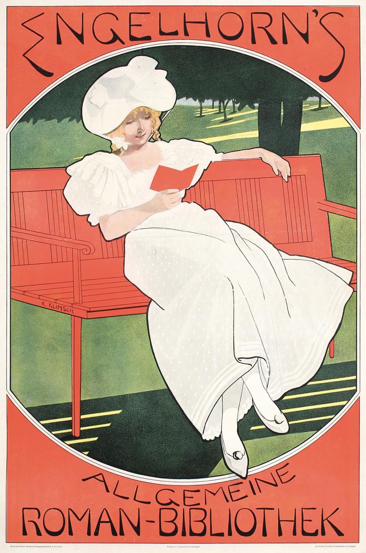 Old Original Vintage 1890s Art Nouveau Book Advertising Poster